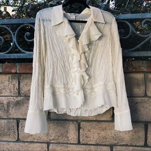 ALLISON TAYLOR CREAM FLORAL/LACE BLOUSE